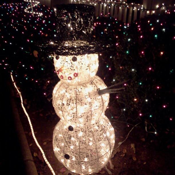 Lighted snowman.