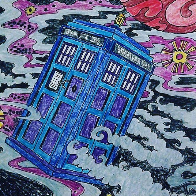 A colored pencil and crayon drawing of The Doctor's TARDIS in space